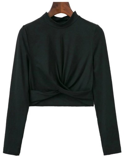 Cropped High Collar T-Shirt - BLACK S Mobile