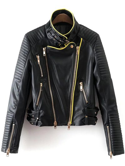Zip and Buckle Design Faux Leather Jacket - BLACK M Mobile