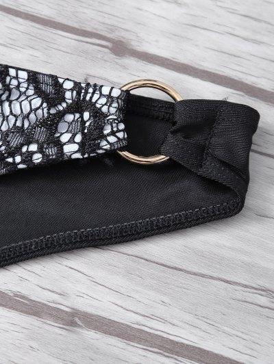 Steel Ring Halter Lace Bra Set - BLACK S Mobile