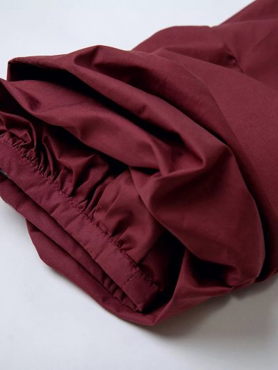 Wrap Front Puffed Sleeve Blouse - WINE RED S Mobile