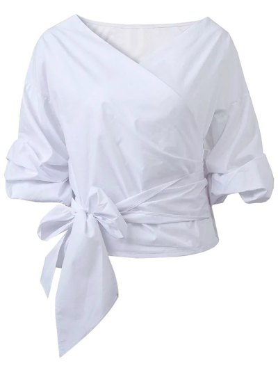 Wrap Front Puffed Sleeve Blouse - WHITE L Mobile