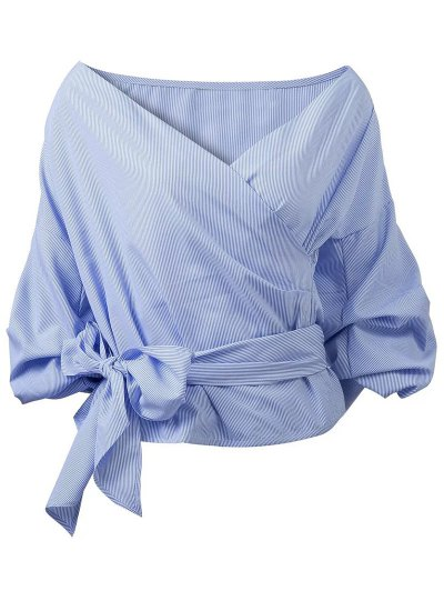 Wrap Front Puffed Sleeve Blouse - BLUE L Mobile