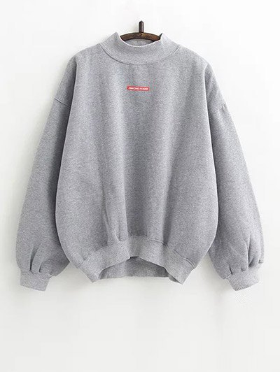 Lettering Fleece Sweatshirt - GRAY ONE SIZE Mobile