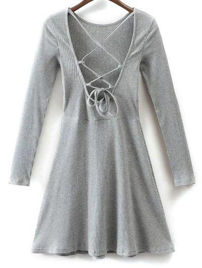 Lace Up Back Skater Dress - Gray