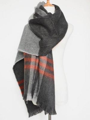 Big Plaid Pattern Tassel Scarf - Gray