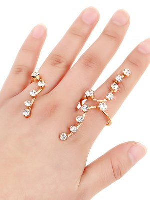 Rhinestone Gold Plated Ring - Golden