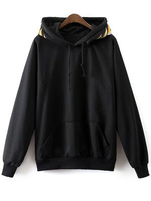 Embroidered Front Pocket Hoodie - Black