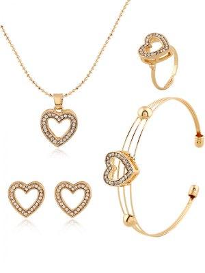 Collier Coeur Rhinestoned Boucles D'oreilles Bague Et Bracelet - Or