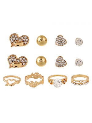 Rhinestone Floral Heart Rings And Earrings - Golden