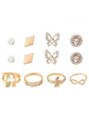 Infinite Leaves Rhinestone Rings And Earrings - Golden