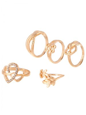 Rhinestone Infinite Heart Ring Set - Golden