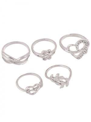 Rhinestone Infinite Heart Ring Set - Silver