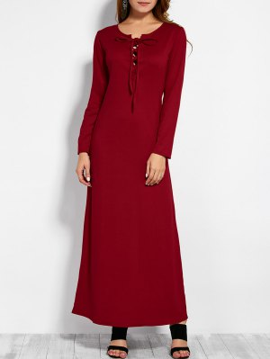 Lace Up Long Sleeve Maxi Dress - Red