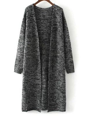 Collarless Double Pockets Side Slit Cardigan - Gray