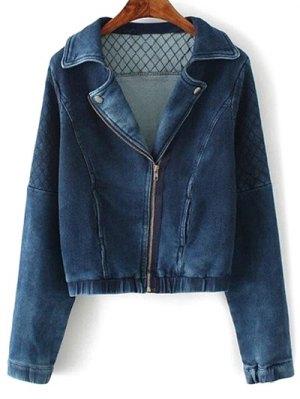 Argyle Zippered Denim Jacket - Deep Blue