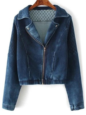 Argyle Zippered Denim Jacket - Deep Blue