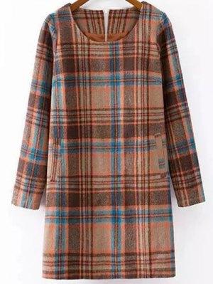 Plaid Wool Blend Shift Dress
