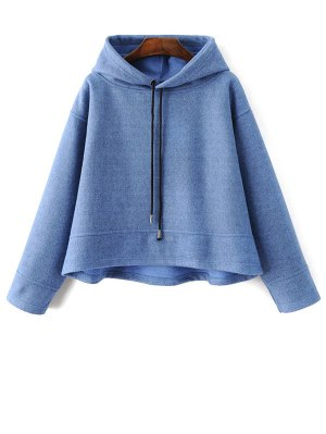 Oversized Drawstring Hoodie - Blue