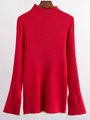 Contrast Trim High Collar Jumper - Red