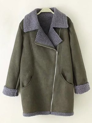 Zip-Up Faux Suede Coat - Army Green