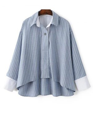 Striped High-Low Blouse - Light Blue