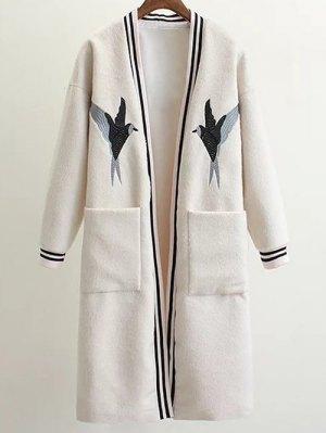 Collarless Bird Embroidered Coat - White