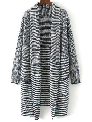 Striped Long Knitted Cardigan
