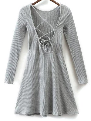 Lace Up Back Skater Dress - Gray