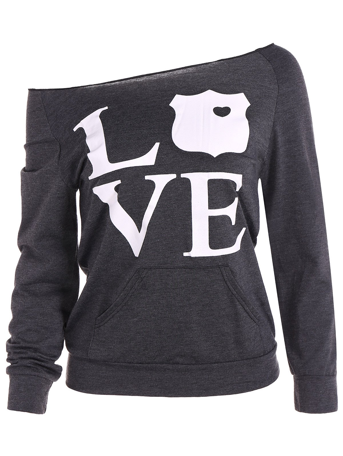 Skew Neck Love Sweatshirt