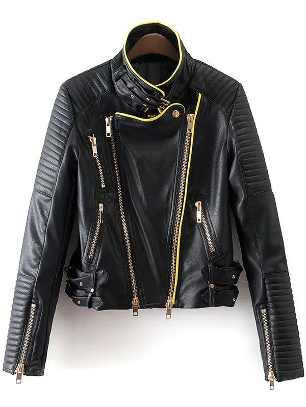 Piped PU Leather Biker Jacket