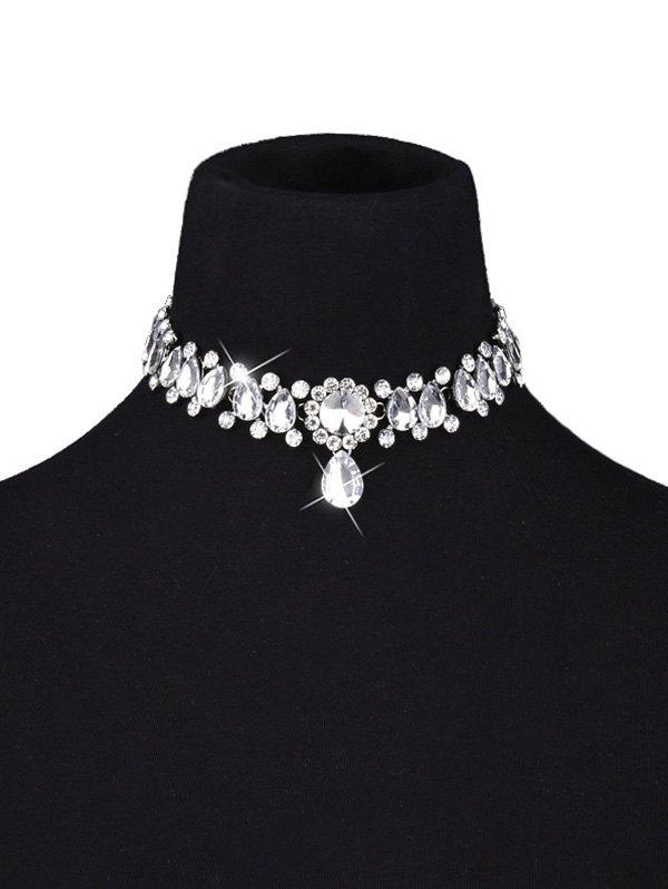 Artificial Gem Water Drop Choker Necklace