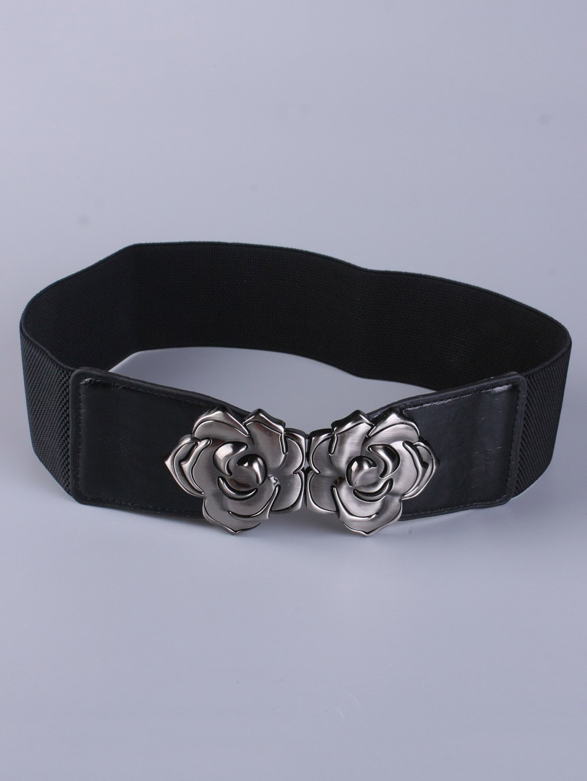 Coat Wear Polished Floral Buckle Wide Stretch Belt