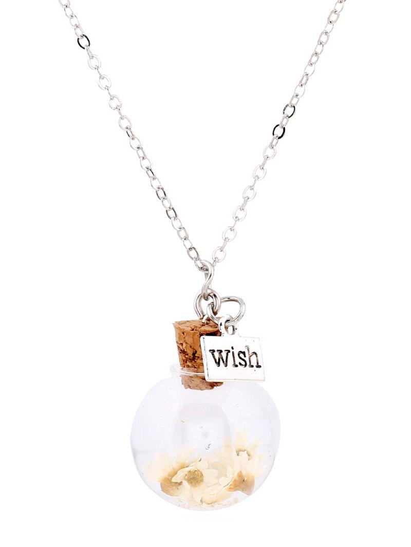 Flower Glass Bottle Pendant Necklace