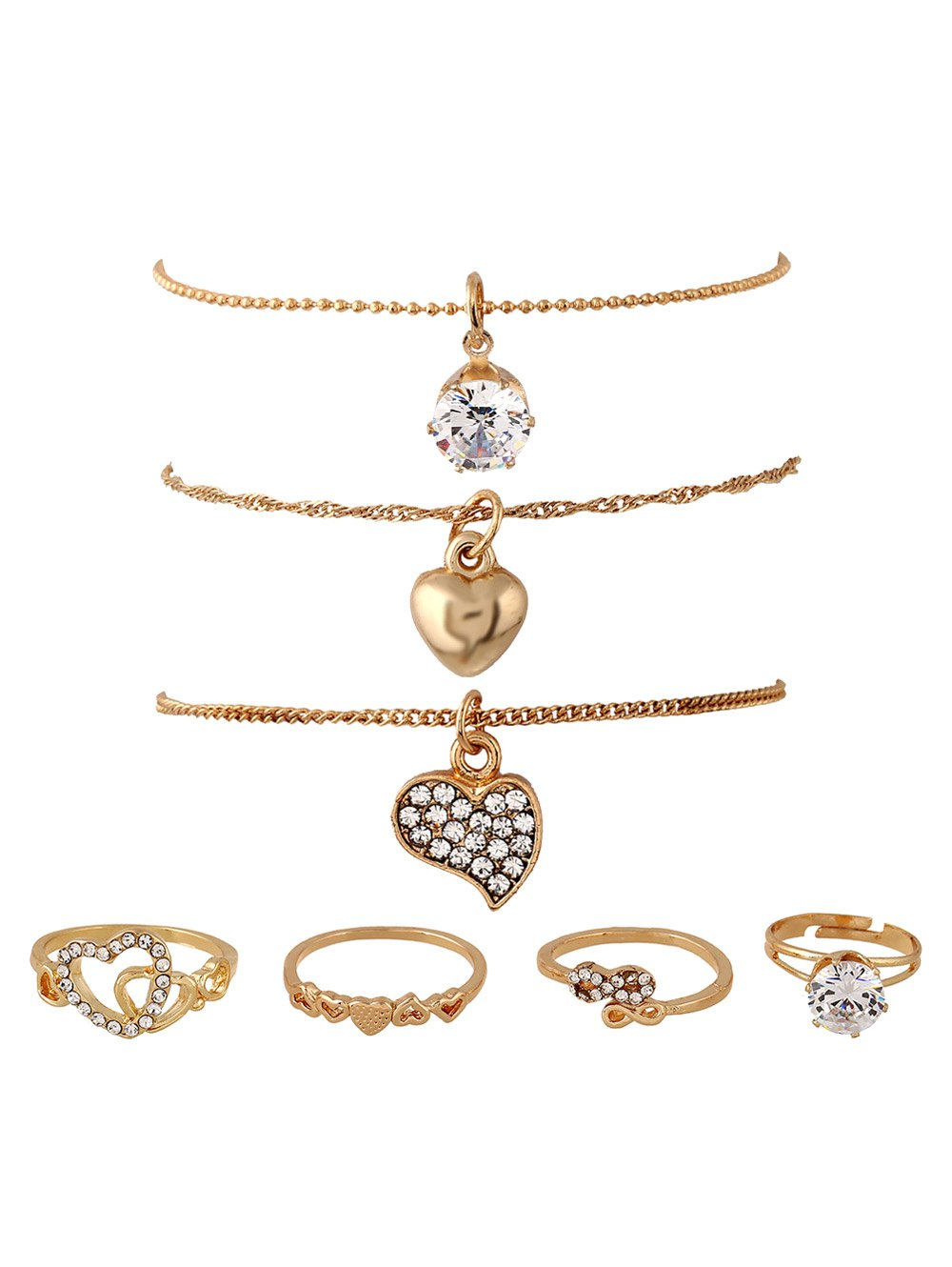 Rhinestone Infinite Heart Rings and Necklaces