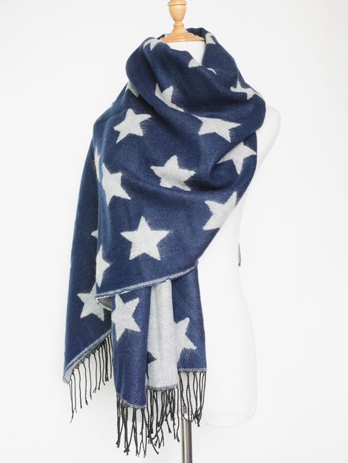 Winter Star Pattern Tassel Long Scarf