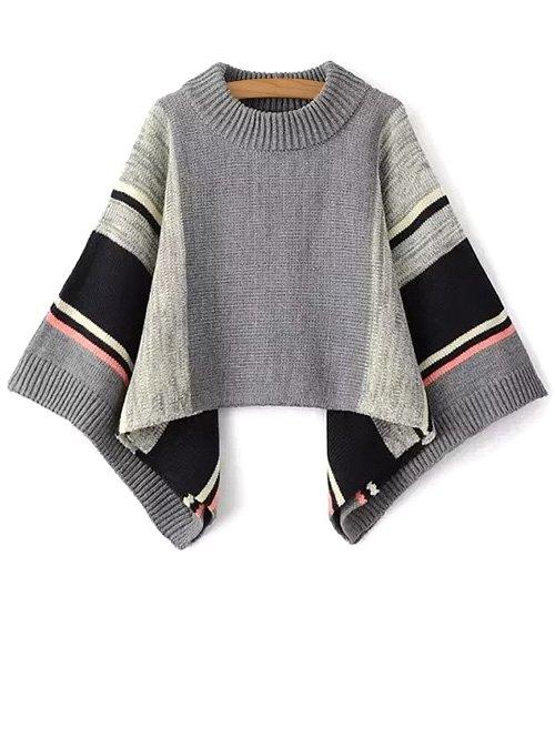 Color Block Dolman Poncho Sweater