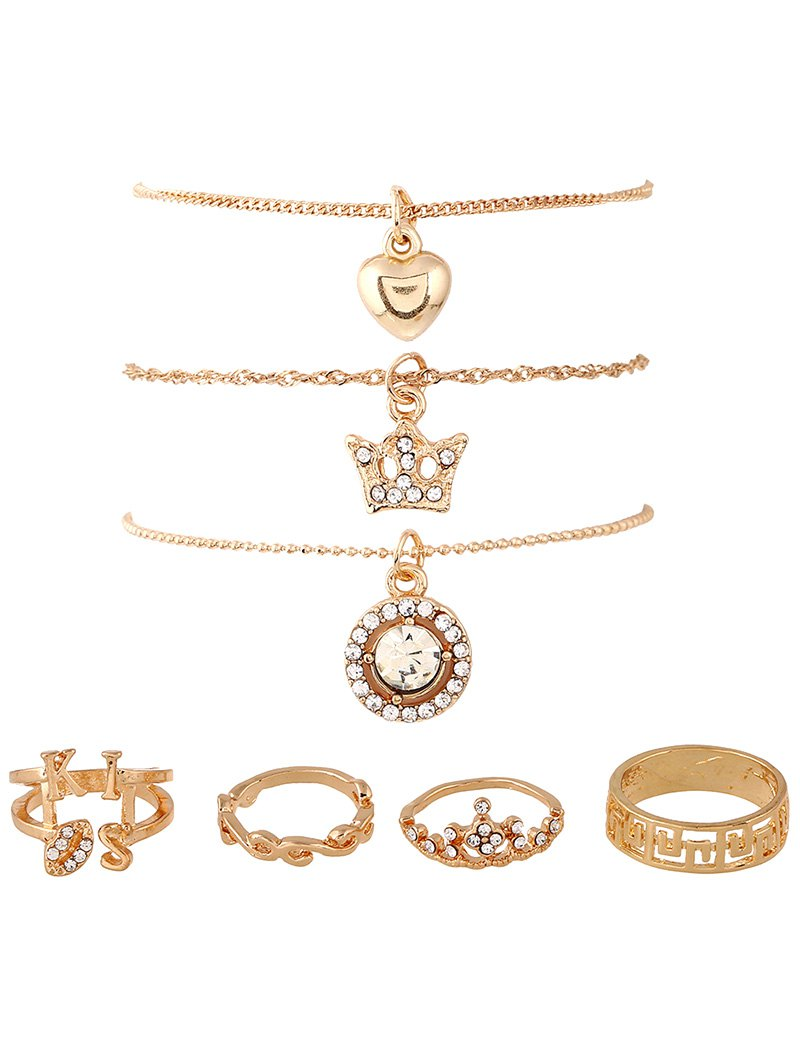 Rhinestone Heart Crown Necklaces and Rings