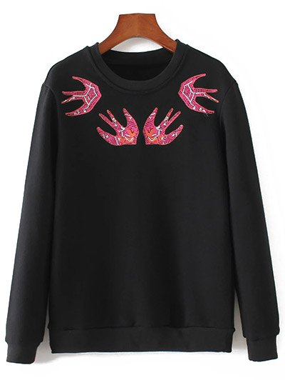 Crew Neck Swallow Embroidered Sweatshirt