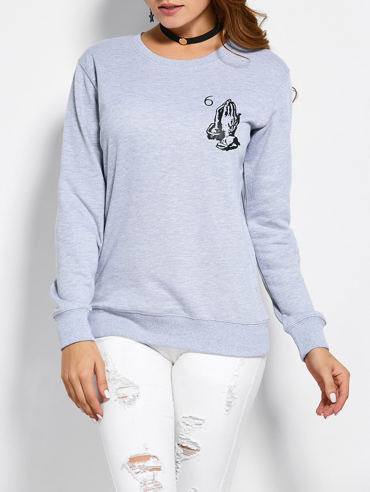 Patterned Crew Neck Sweatshirt