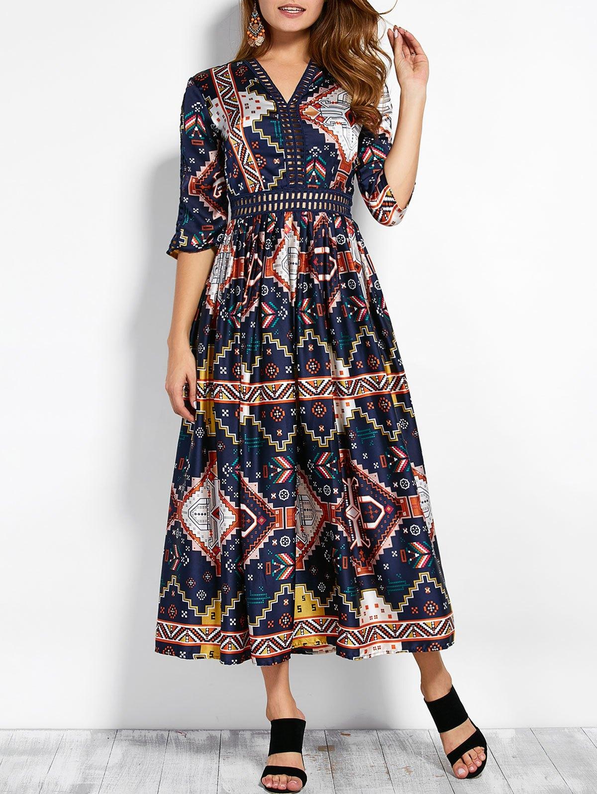V Neck Retro Print Hollow Out Maxi Dress