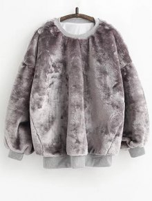Faux Fur Sherpa Sweatshirt - Gray