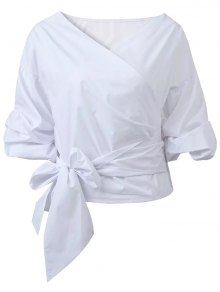 Buy Wrap Front Puffed Sleeve Blouse M WHITE