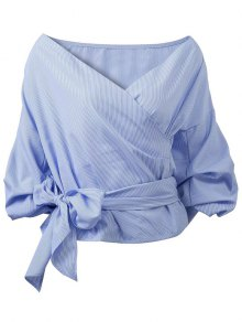 Buy Wrap Front Puffed Sleeve Blouse L BLUE
