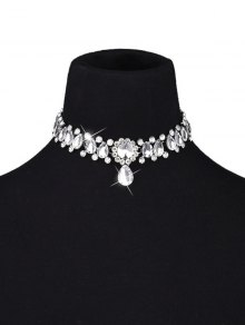 Artificial Gemstone Water Drop Choker Necklace - White
