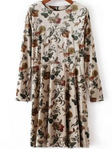 Floral Print Velvet Skater Dress