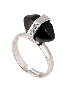 Oval Faux Gemstone Ring - BLACK
