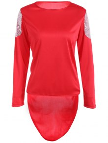 High Low Sequins T-Shirt - Red M
