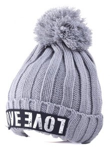 Casual Warm Big Ball Love Letter Knitted Beanie - Gray