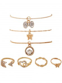 7PCS Heart Rhinestone Gold Plated Jewelry Set