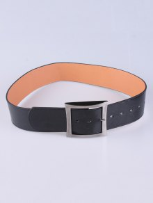 Coat Wear Square Buckle Belt - Black